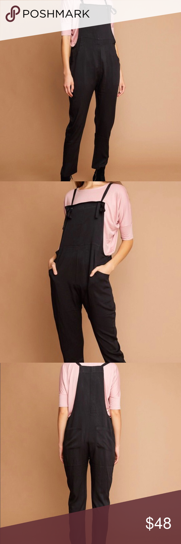 c2954a982b7 Black Tie Strap Overalls Lightweight overalls w  adjustable tie straps and  front and back pockets 100% rayon Hayden Pants Jumpsuits   Rompers
