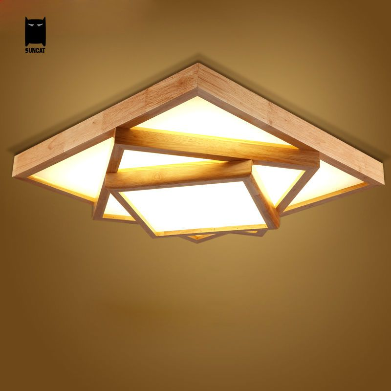 Led Square Big Oak Wood Acrylic Ceiling Light Fixture Nordic Japan Style Plafon Lamp Luminaria Foyer Ceiling Lights Traditional Lighting Ceiling Light Fixtures