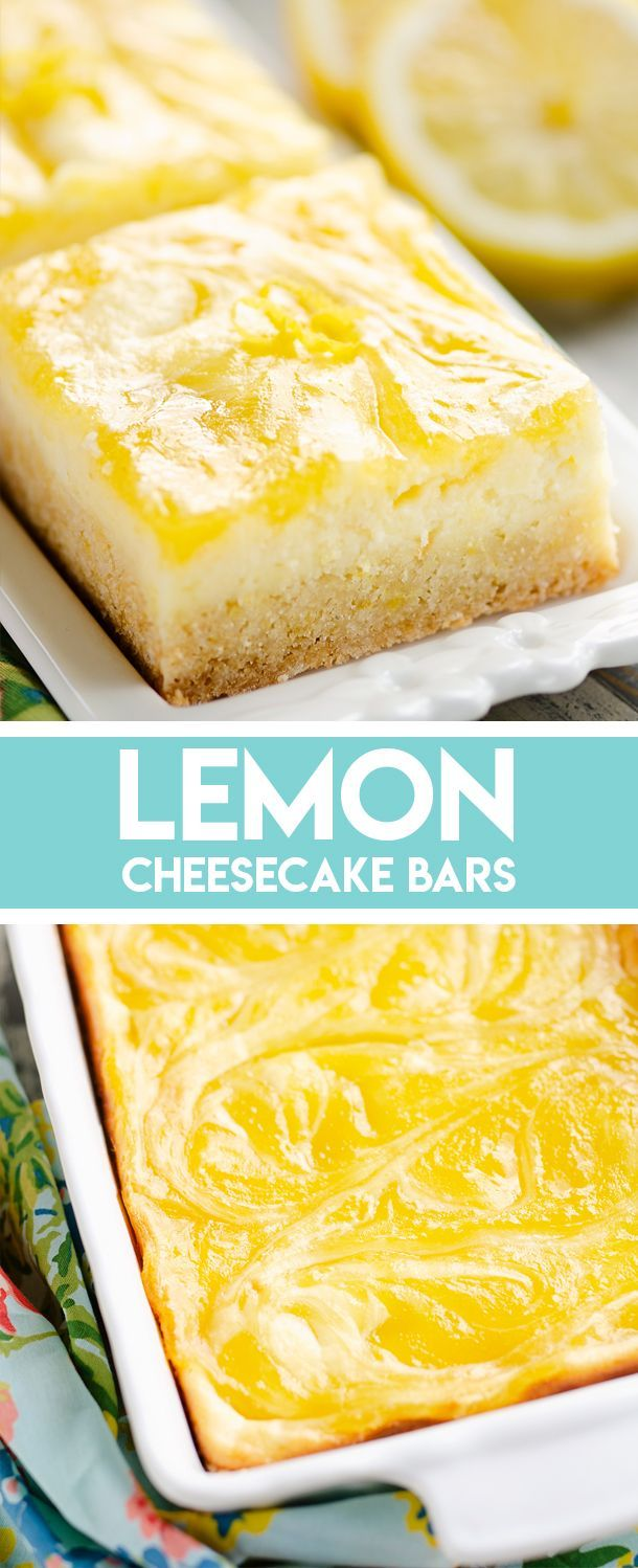 Lemon Cheesecake Bars are a sweet treat with a sugar cookie crust, a rich cheesecake layer and a tart lemon curd swirled throughout. They are fantastic dessert for any special occasion! #Lemon #Cheesecake #Dessert #cheesecakes