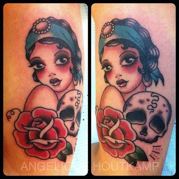 Flapper Girl Tattoo with skull by artist Angelica HoutKamp.