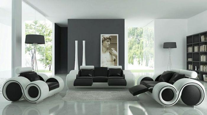 schwarz weiß wohnzimmer einrichten weiss schwarz duschvorhang1 - wohnzimmer gestalten schwarz weis