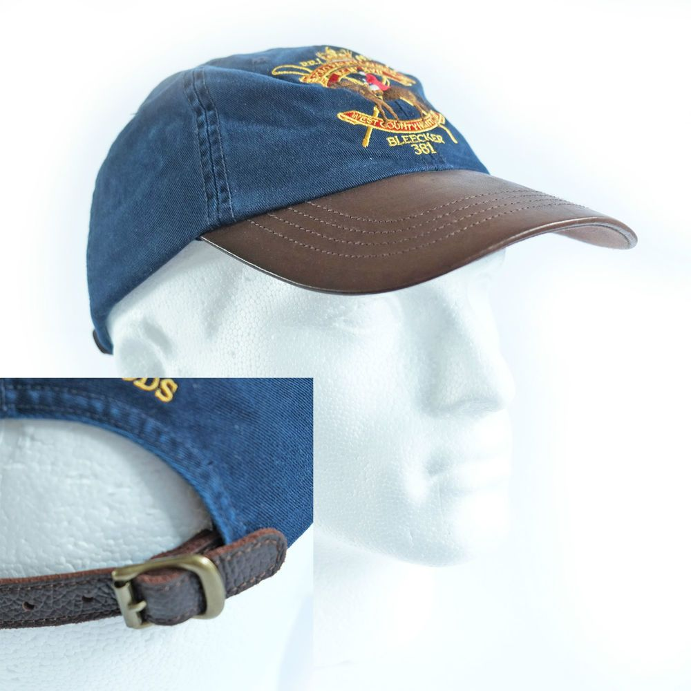Ralph Lauren Baseball Cap Hat Navy Blue   Gold Equestrian Leather Strap    Peak 19fef66ff486