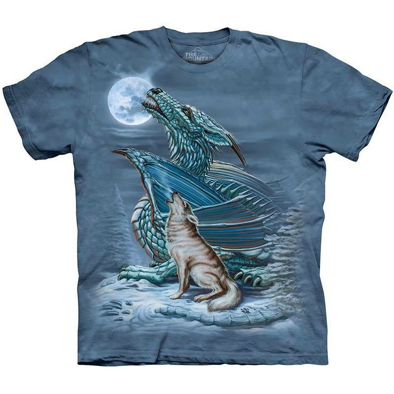 The Mountain DRAGON WOLF MOON Howling T-Shirt S-3XL #TheMountain #GraphicTee