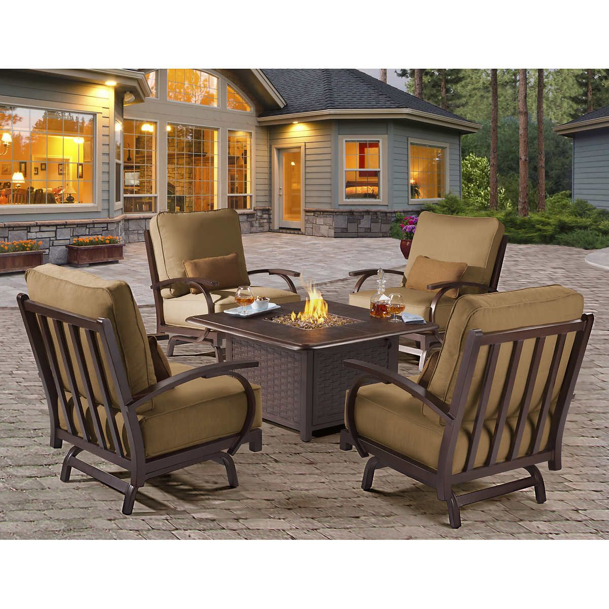 Costco Patio Furniture With Fire Pit Fire Pit Table And Chairs