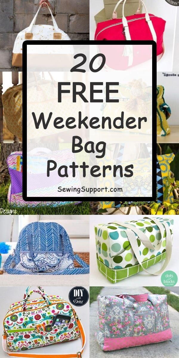 Over 30 Free Weekender Bag patterns, tutorials, and diy sewing projects. Sew these large travel overnight bags that can also make great duffle-style bags for school, gym, sports, or dance class. #sewingsupport #bagpatterns #sewingpatterns #sewingprojects #sewingprojects