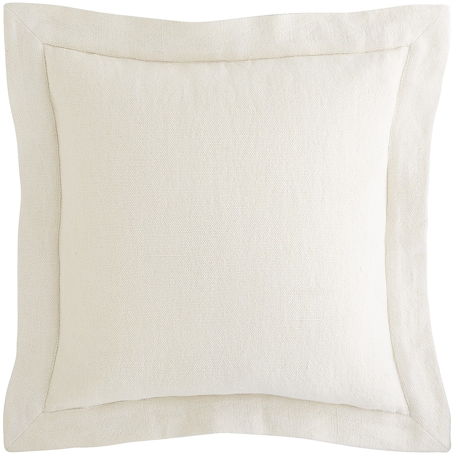Linen Flange Pillow  Ivory  Cotton