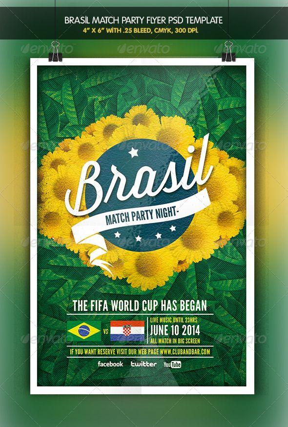 Brazil Match Party Brazil 2014 Flyer Flyers Pinterest Flyer