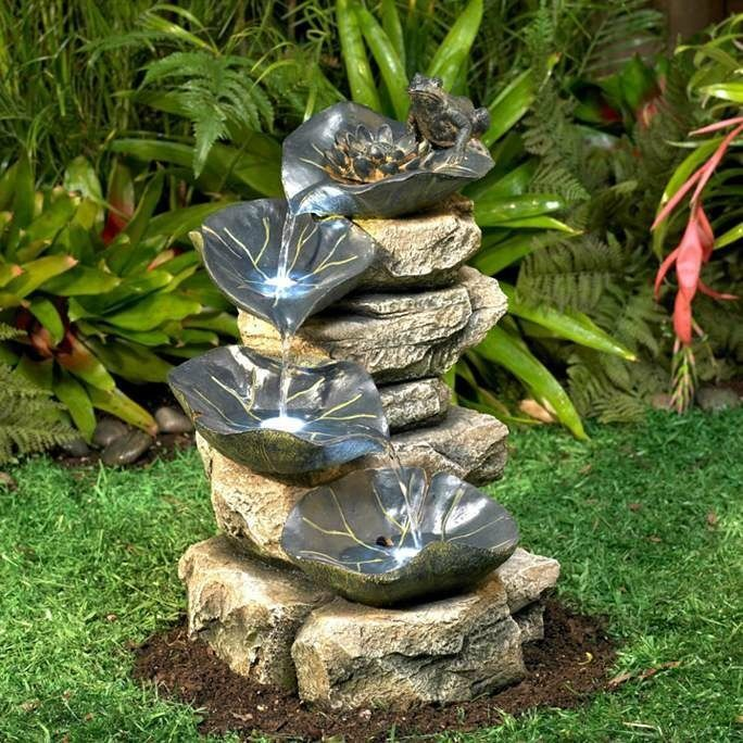 Garden Fountain Frog And Lily Pad Indoor Outdoor Waterfall Patio Deck Yard  Decor #ULD