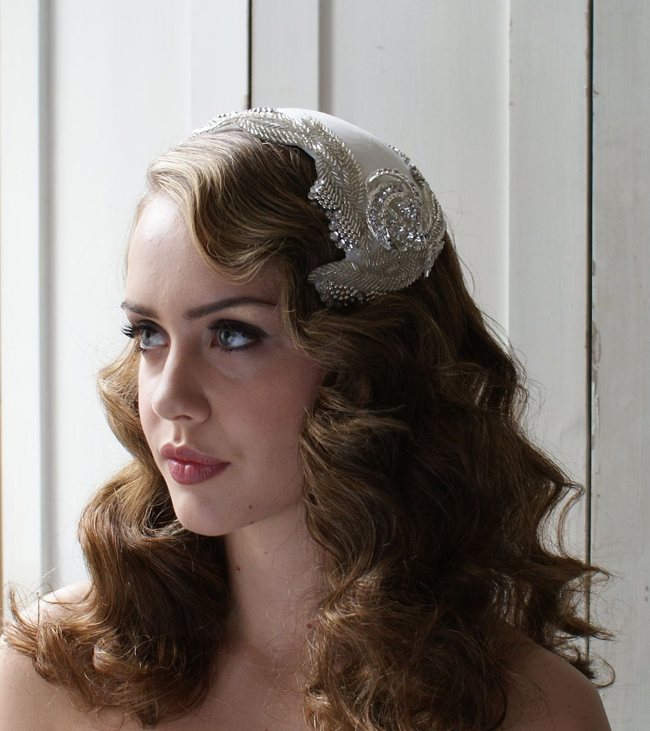 Bridal Headpiece And Tulle Blusher Veil, Art Deco Style