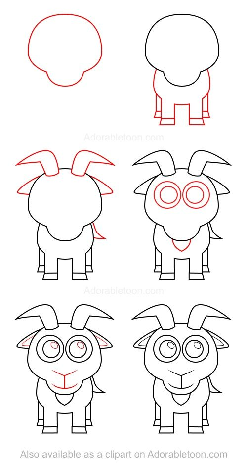 Ch vre apprendre dessiner pinterest ch vres - Dessiner un loup facilement maternelle ...