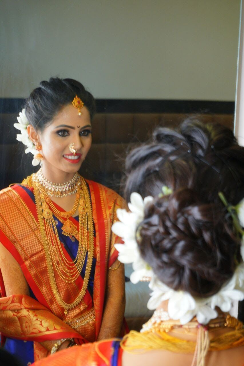 Maharashtrian Wedding Hairstyles Traditional Marathi Bride Makeup Royalbride Hairstyle M South Indian Bride Hairstyle Marathi Bride Indian Bride Hairstyle