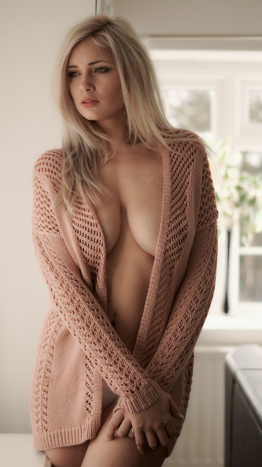 Milf wearing sweater nothing else