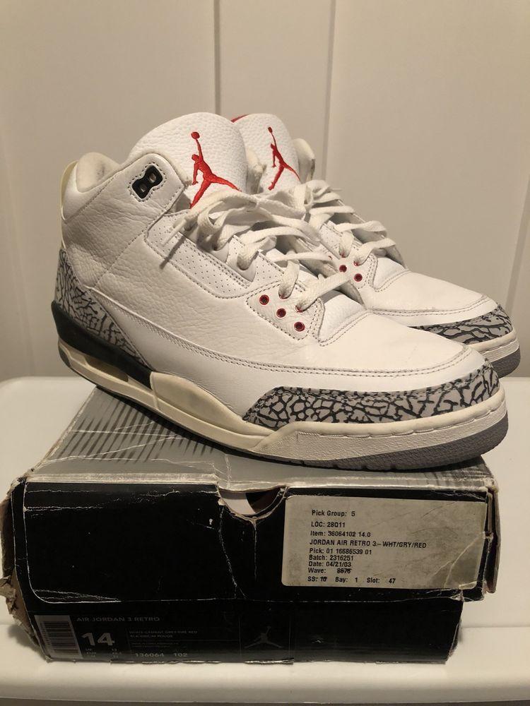 new style ad441 8212d Nike Air Jordan 3 III White Cement 2003 OG 14 | Men's Shoes ...