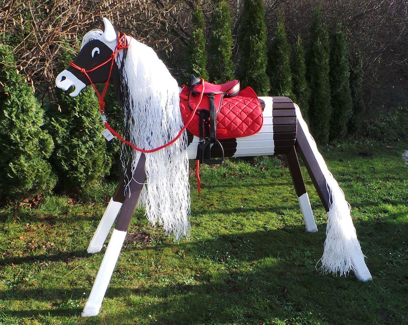 Holzpferd Paint Schecke Braun Weiss 100 130 Super Schick Holzpferd Pferd Kinder Spielplatz Garten
