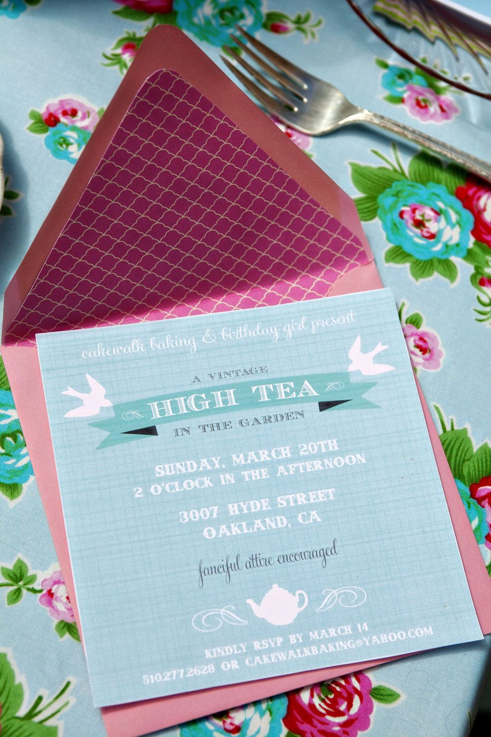 Vintage Tea Party Invitation High Tea in the Garden by cakeevents ...