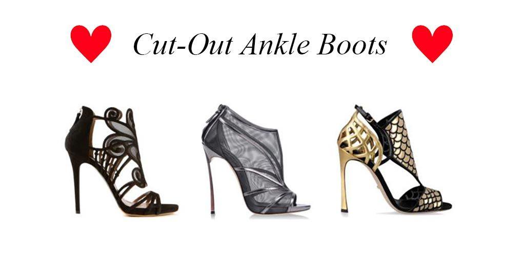 Die High Hees der Woche sind heute wunderschöne Cut-Out Ankle Boots von Sergio Rossi, Tabitha Simmons und CASADEI.