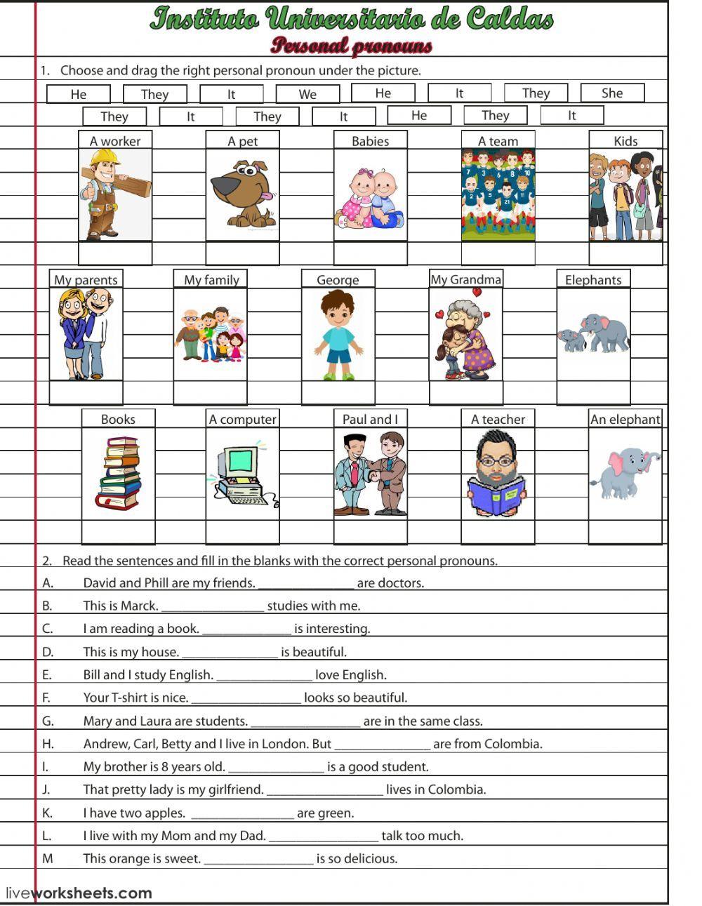 Personal Pronouns English As A Second Language Esl Worksheet This Is An Interacti Pronombre Personal Actividades Interactivas Actividades Con Los Pronombres