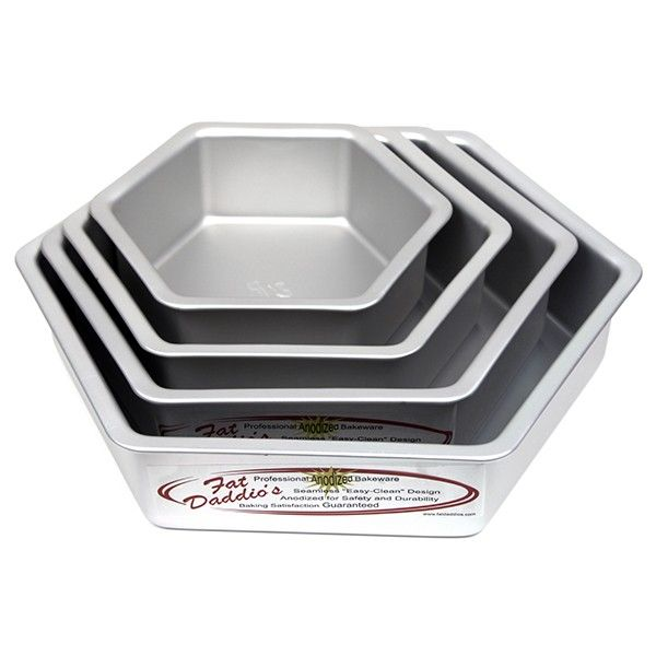 Cake Pan Set of 4, Hexagon Even (8 to 14 Inches), 3 Inches Deep by Fat Daddio's