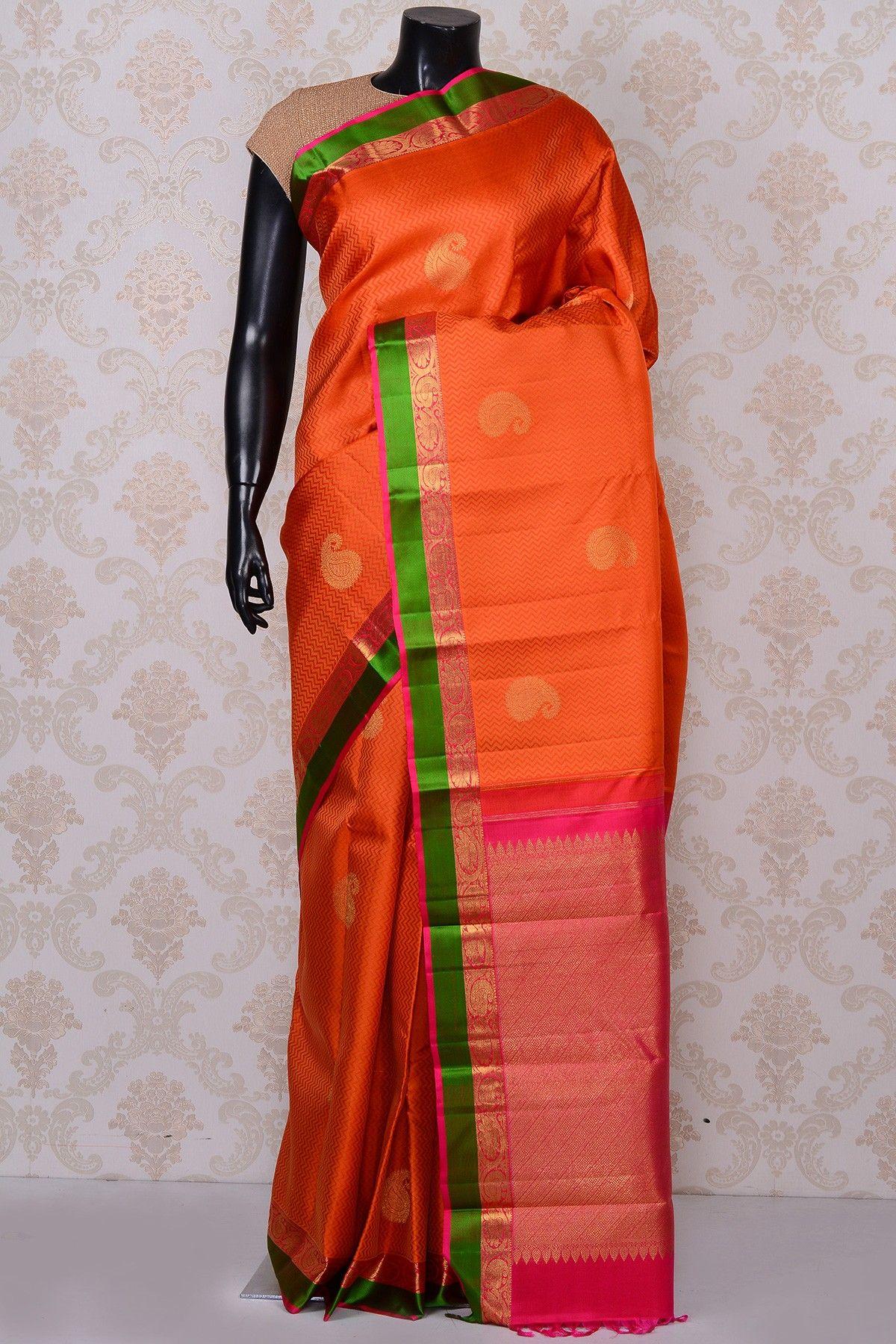 cbde7f8260f97a  Orange gorgeous  kanchipuram silk  saree with green border-SR18624 -  PURE KANCHIPURAM  SILK SAREE  Sarees
