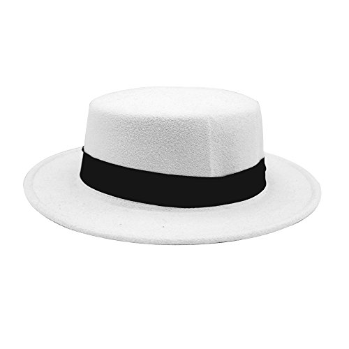 86265219abb452 NE Norboe Women's Brim Fedora Wool Flat Top Hat Church Derby Bowknot Cap  Material: Polyester and Cotton Simple but elegant style with band Suitable  to wear ...