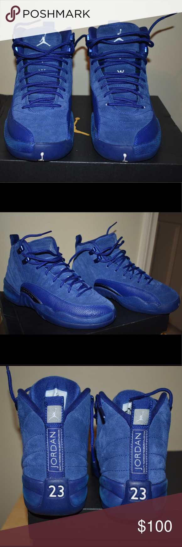 Suede Blue Jordan 12's   Blue jordans