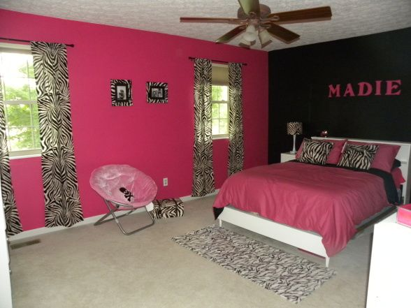 Madie S Pink Black And Zebra Room Zebra Room Pink Zebra Rooms Girls Room Design