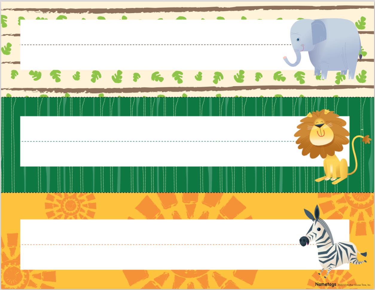 Animal Theme Nametag Free Downloadable Info