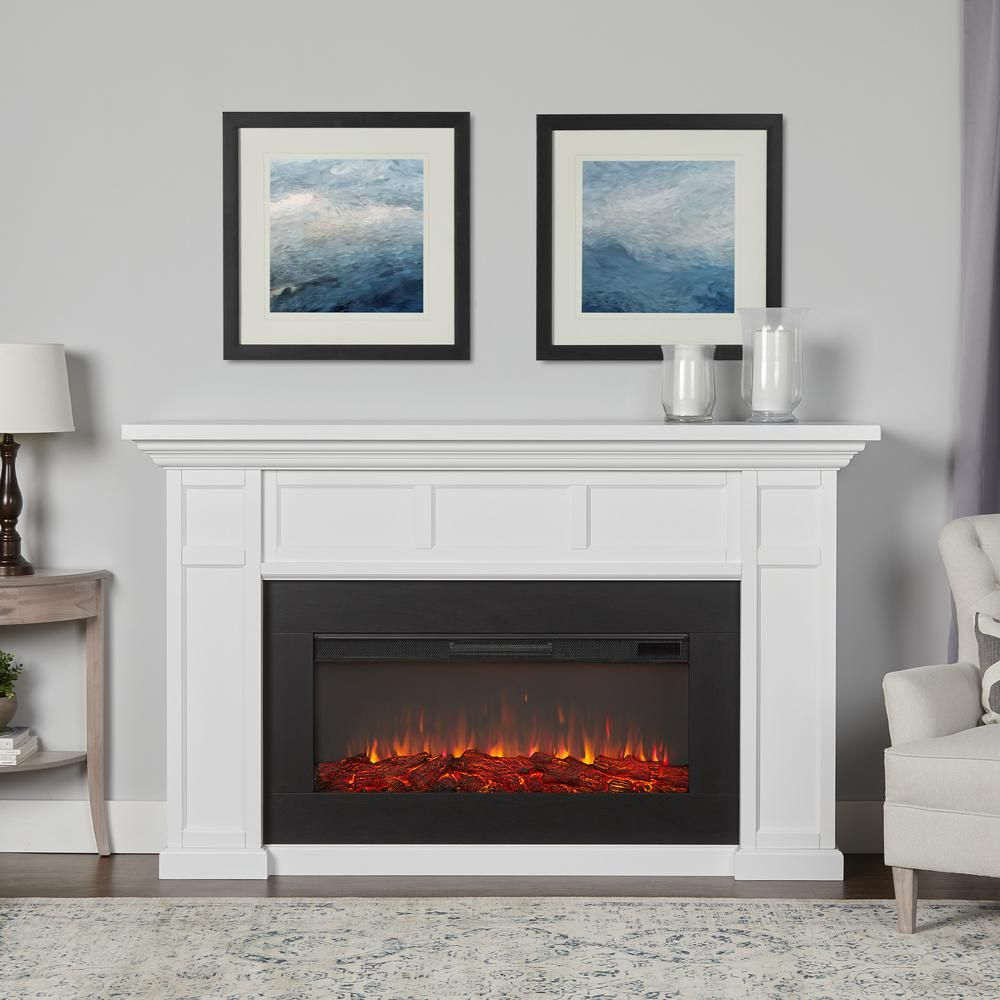 Real Flame Alcott Landscape 75 In Freestanding Electric Fireplace In White 4130e W The Home Depot In 2020 White Electric Fireplace Portable Fireplace Electric Fireplace