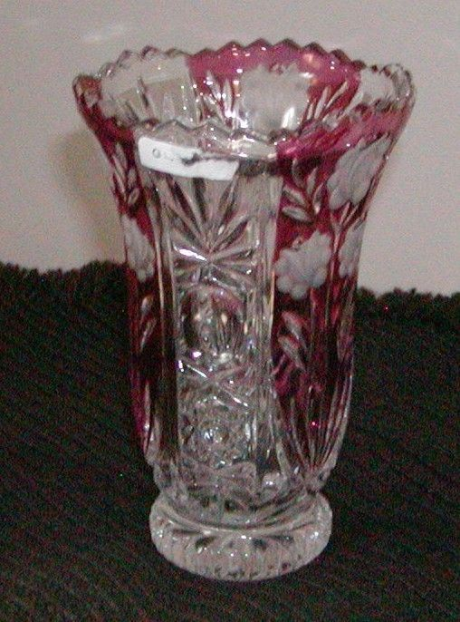 Collectible Ruby Red Pink Amp Clear Crystal Vase Cranberry Westmoreland Craving Cranberries