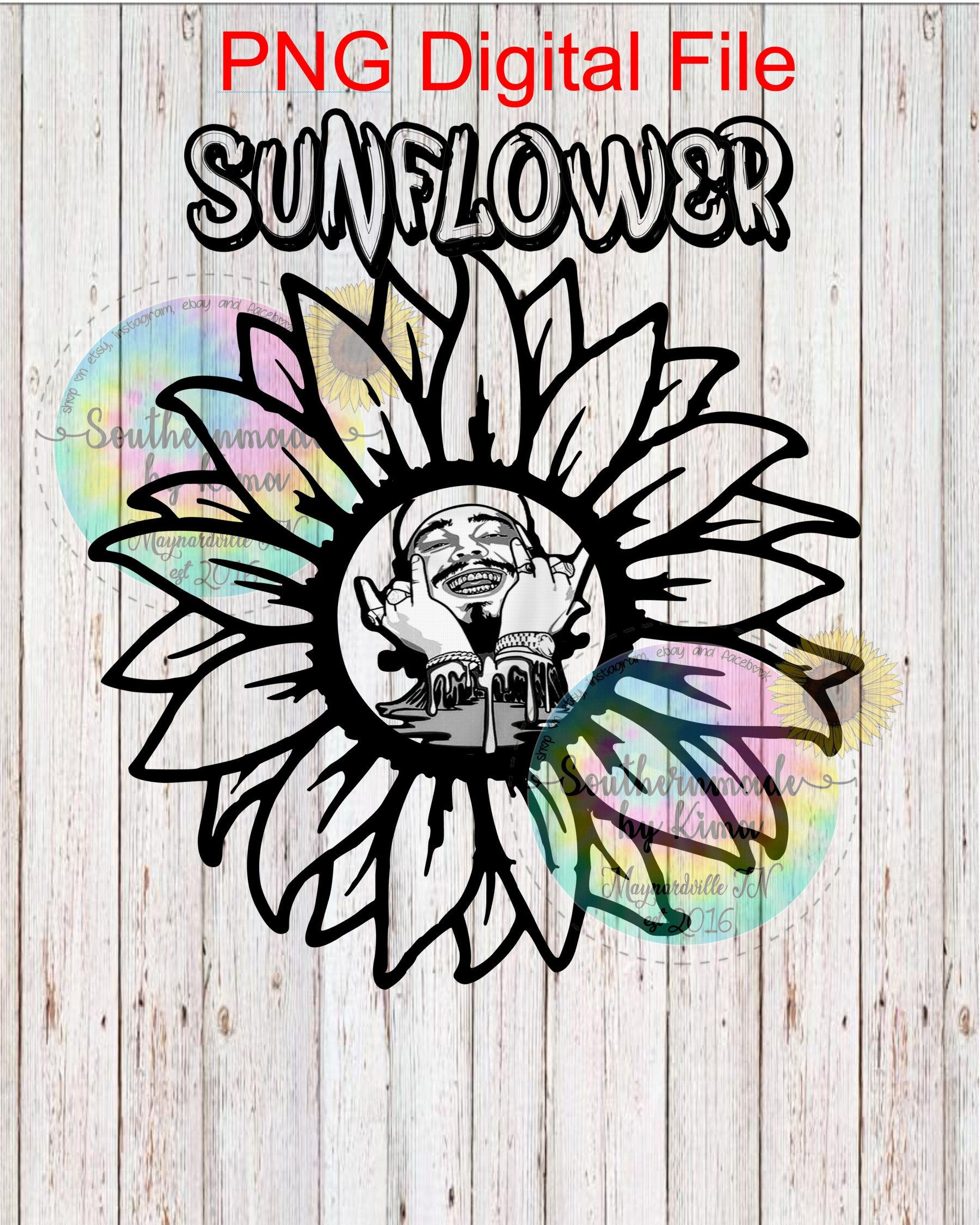 Post Malone Clip Art: Posty, Post Malone, Sunflower, Sublimation Digital Png