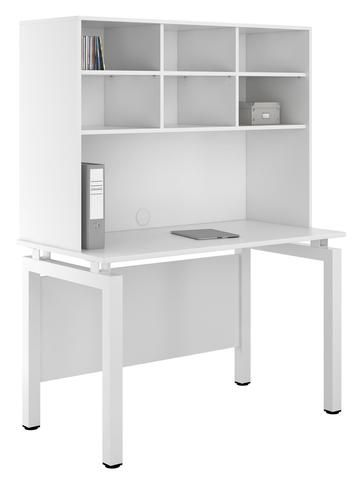 Arctic White Study Desk With Overhead Storage Perfect For Home