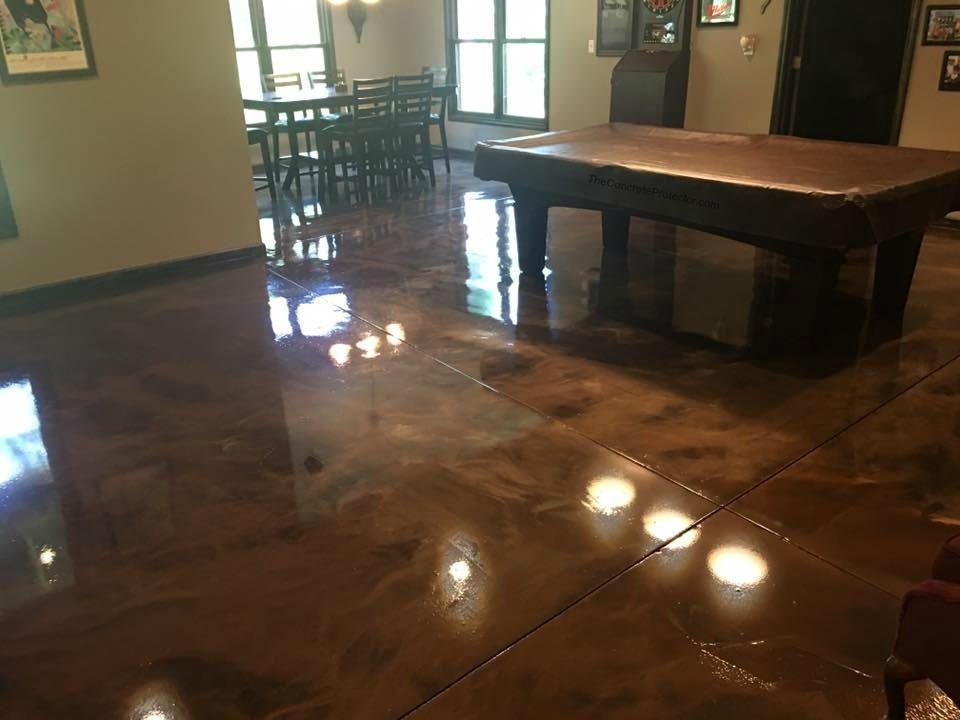 Metallic Marble Epoxy Basement Concrete Makeover Peoria Il Basement Flooring Flooring Cheap Farmhouse Decor