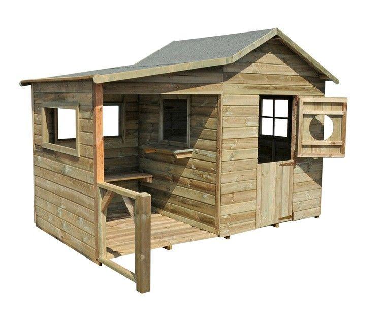 Rustic style wooden outdoor playhouse complete with covered verandah cabane en bois pour - Construire maisonnette en bois ...