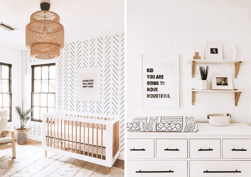 Herringbone Wallpaper Inspired Nursery and Kids Room Designs images