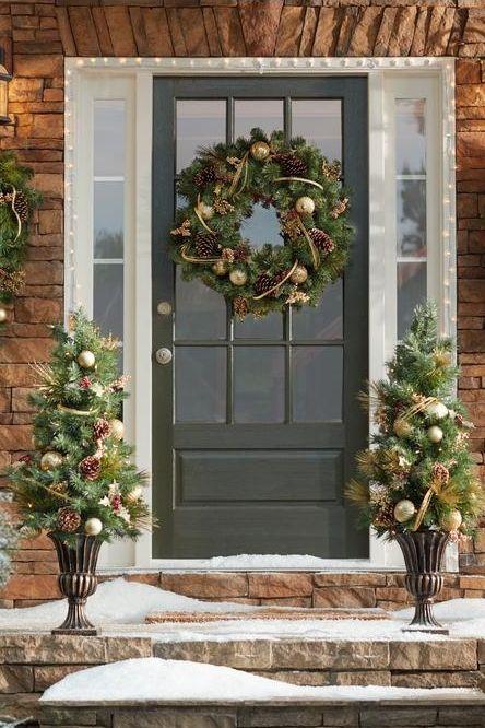 Martha Stewart Living 4 ft Gold Artificial Christmas Porch Tree