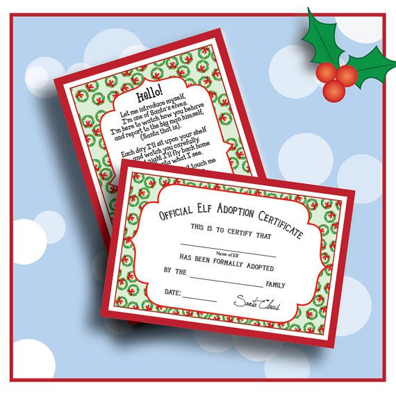 digital elf welcome letter poem and adoption certificate welcome your elf on to the