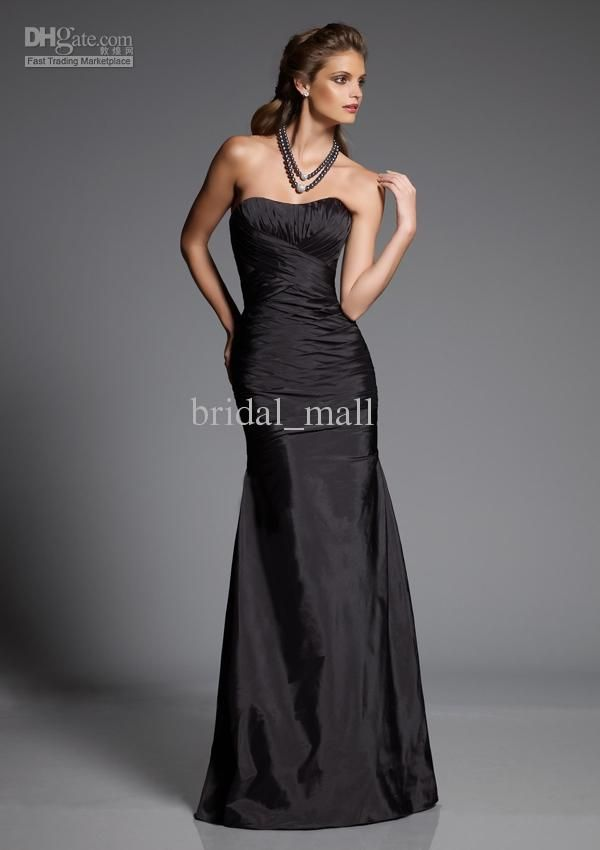 Wholesale Cheap ruched strapless A-line taffeta black bridesmaid ...