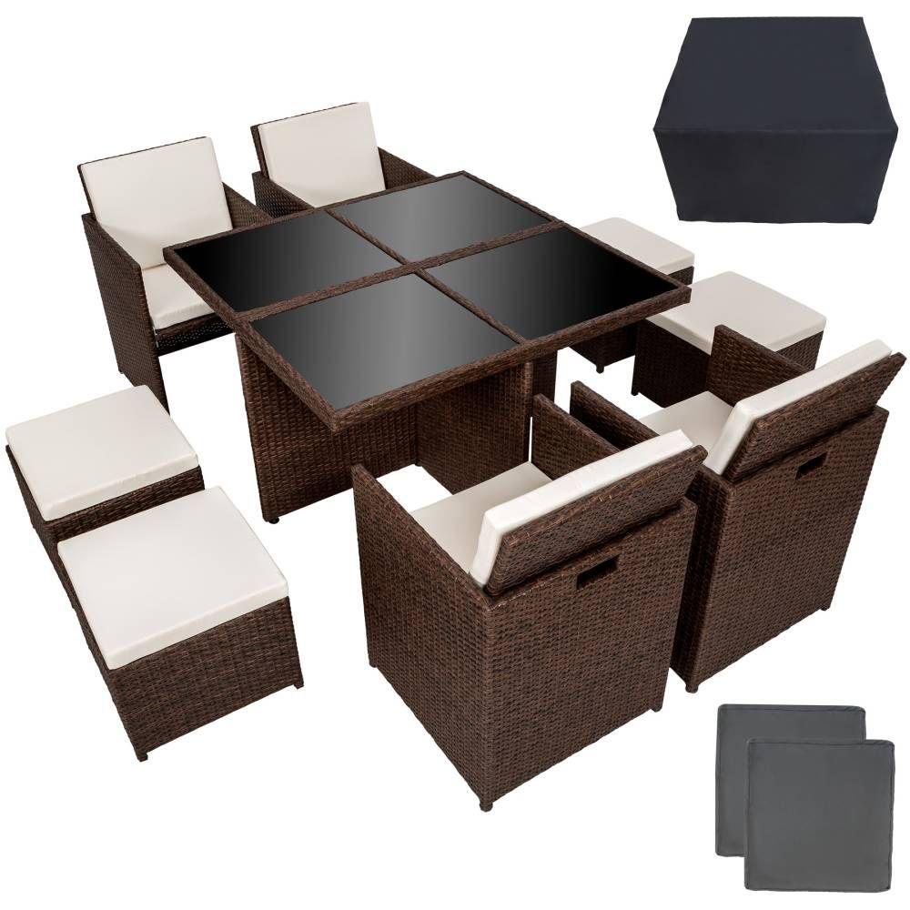 aluminium rattan sitzgruppe manhattan mit schutzh lle antikbraun garten und heimwerken. Black Bedroom Furniture Sets. Home Design Ideas