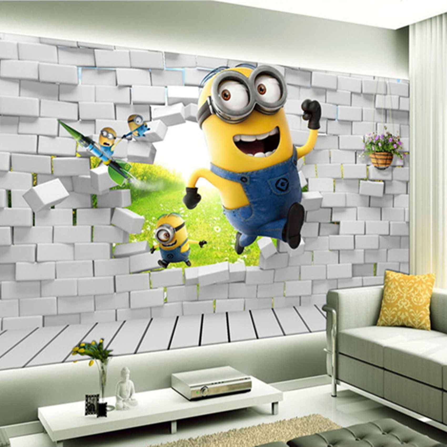 Behangpapier slaapkamer 3d google zoeken deco diy pinterest custom mural brick cute minion cartoon mural wallpaper for kids baby room tv background photo mural wall fresco sticker amipublicfo Images