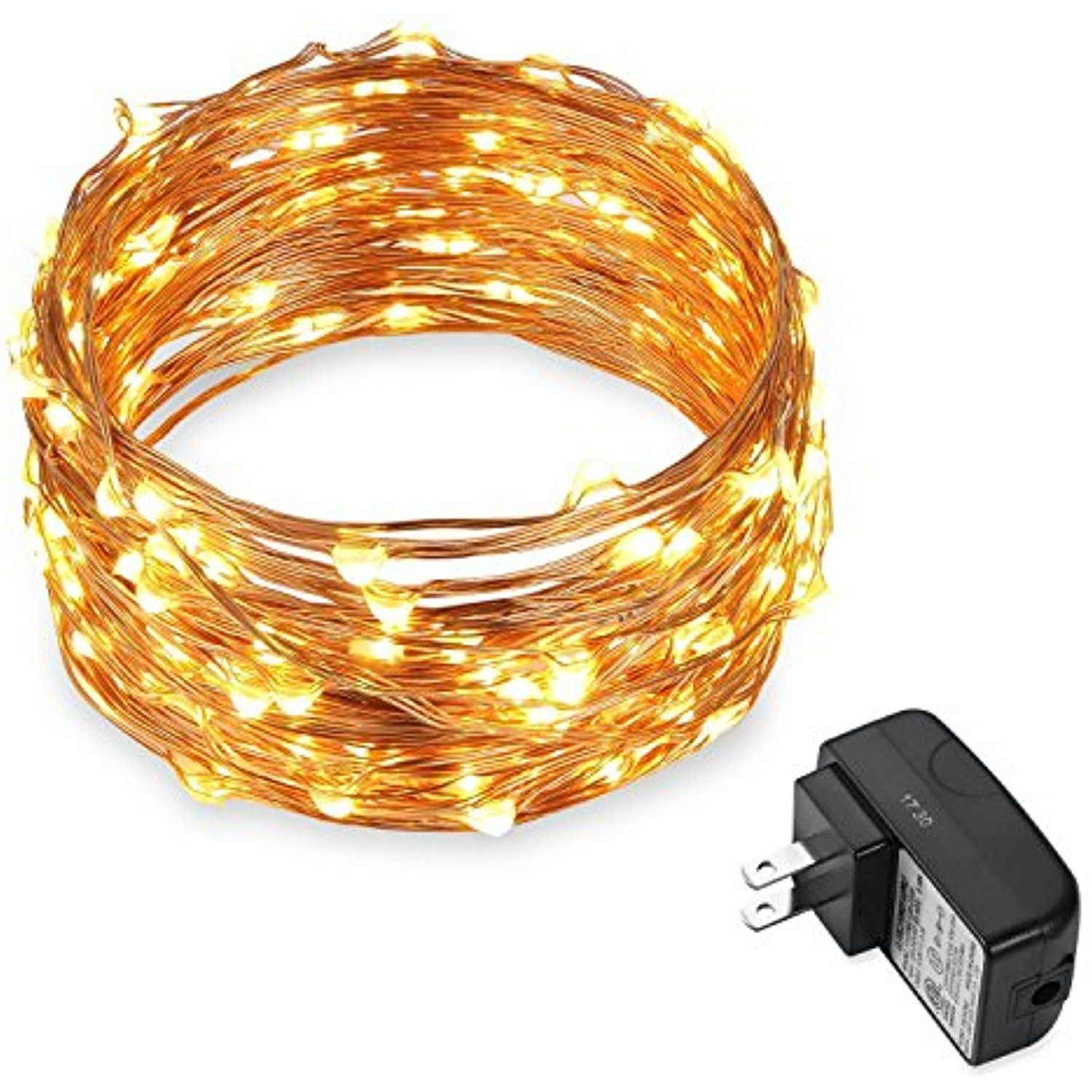 120 LEDs 20ft Copper Wire String Lights Warm White Fairy Starry ...
