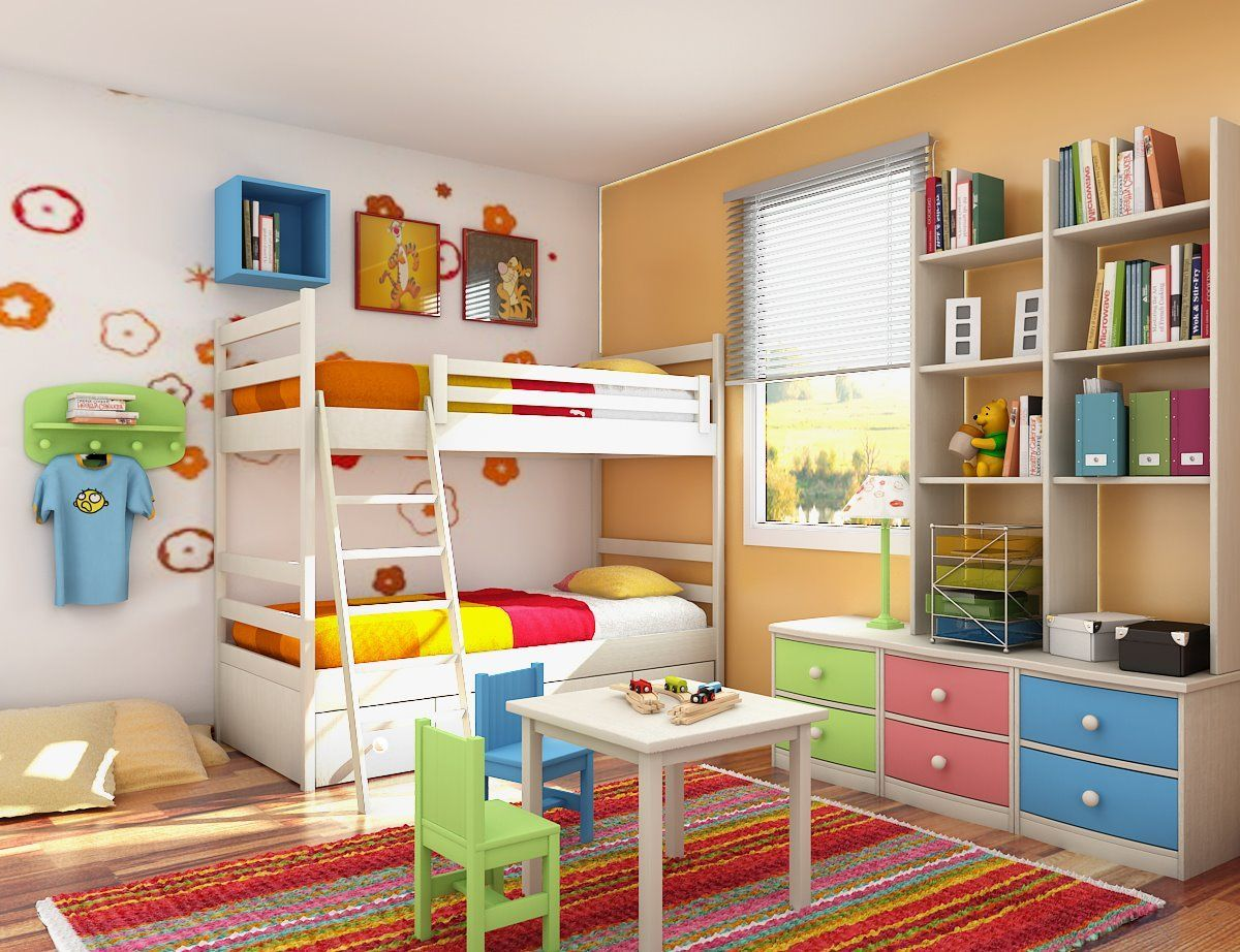 White Frame Bunk Bed For Kids With Stripe Color Carpet Floor