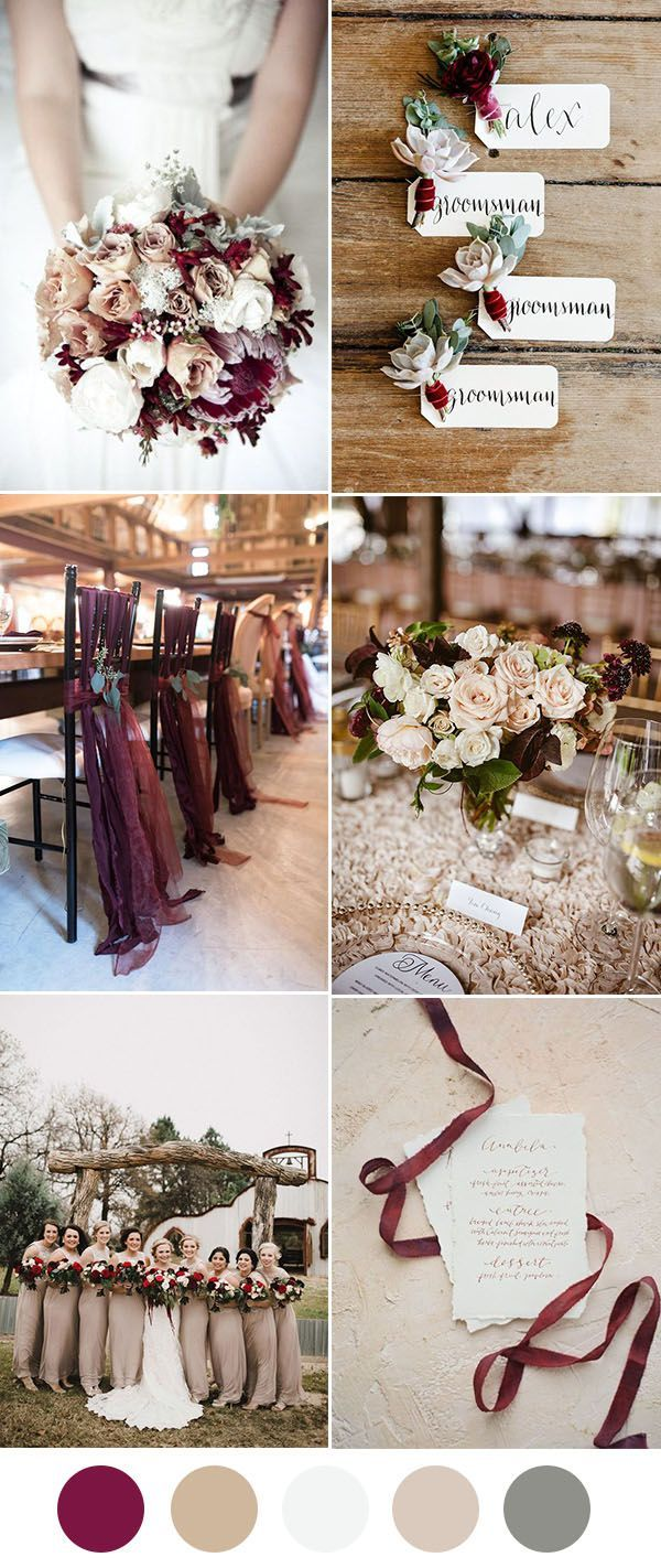 Wedding decoration ideas colors   Beautiful Wedding Color Ideas In Shades of Red Wine and Burgundy