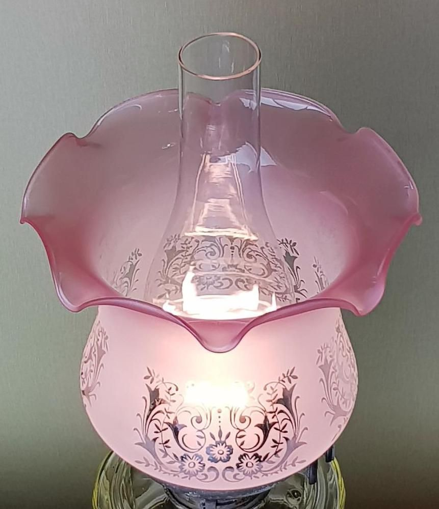 Here We Have A Replacement Duplex Oil Lamp Shade The Shade Is Frosted And Decorated With Reverse Etched Vict Antique Lamp Shades Antique Oil Lamps Oil Lamps