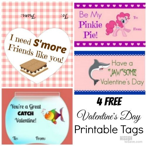 4 Free Printable Valentine\'s Day Tags for S\'Mores, Goldfish and ...
