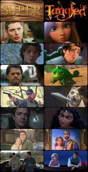 Supernatural + Tangled... too funny not to repin!!! AHH idk wether to pin this to Disney or Supernatural?!!?