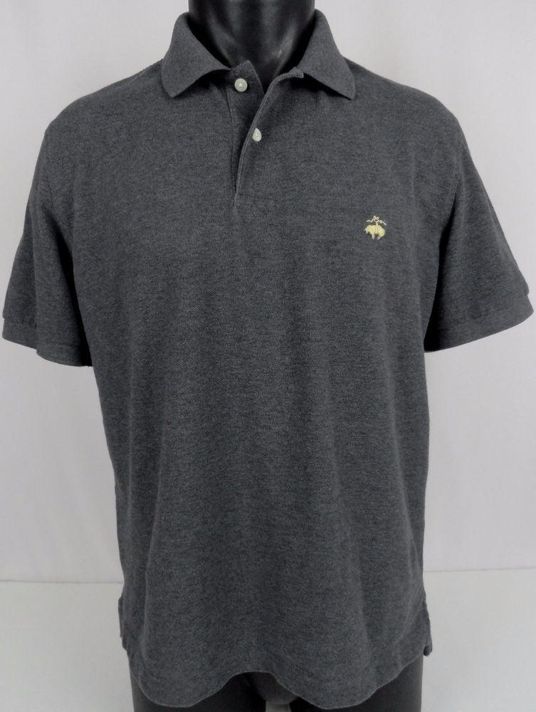 Brooks Brothers Mens L Slim Fit Polo Shirt Heather Gray Lamb Logo Ss