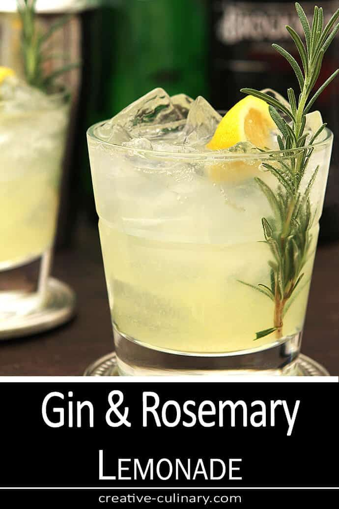 Sparkling Gin and Rosemary Lemonade Cocktail