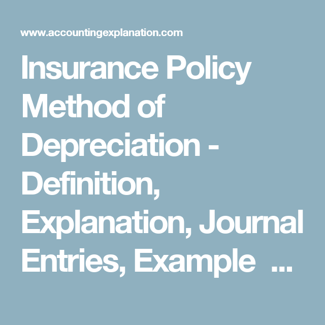 Insurance Policy Method Of Depreciation Definition Explanation Journal Entries Example Accountingexplanation Insurance Policy Journal Entries Policies