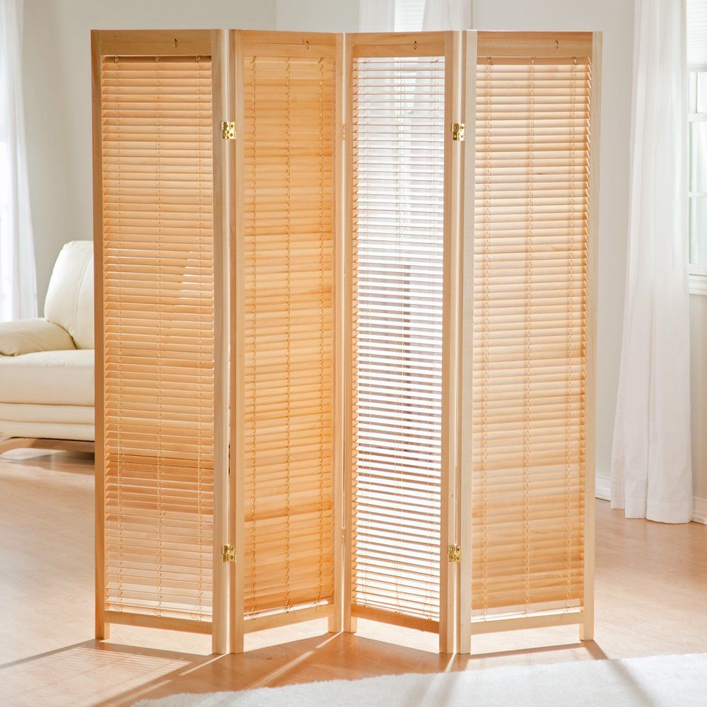 Tranquility Wooden Shutter Screen Room Divider in Natural Room