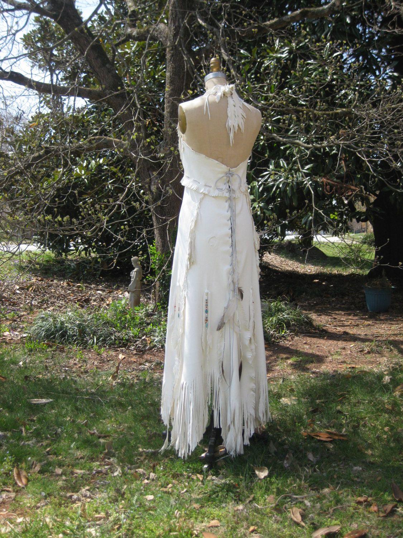 Reserved For Mandala Rain White Leather Wedding Dress Native American Inspired Sample